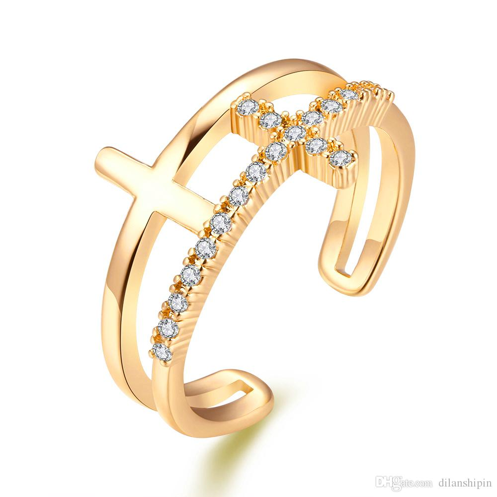 Hot Ring For Wedding Party Rose Gold Plated Cubic Zirconia Women Cross Charm Adjustable Finger Cuff Ring Christmas gift Wholesale Jewelry