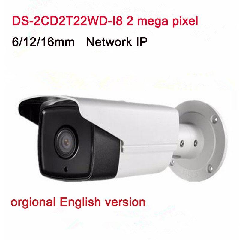 İngilizce Sürüm Gözetim CCTV Kamera DS-2CD2T22WD-I8 PoE WDR Fonksiyonu ile 2.0MP EXIR Ağ Bullet IP Kamera