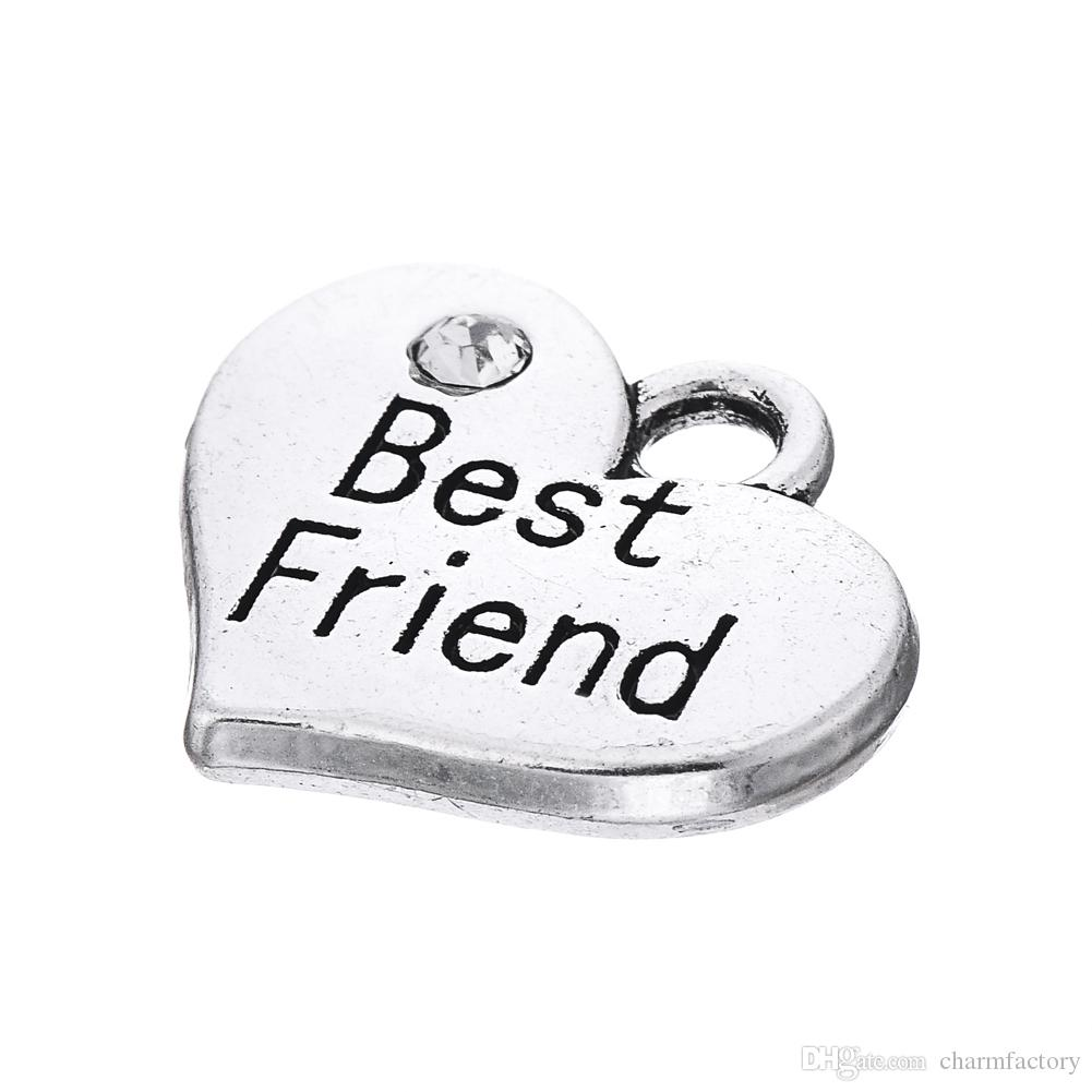 Heart Pendant Best Friend Engraved Words With Clear Crystal Antique Silver Plated Fashion Charm DIY Necklaces&Bracelets