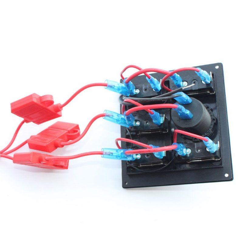 Panel de interruptor de palanca LED azul marino eléctrico de 5 pandillas con panel de toma de corriente 12V