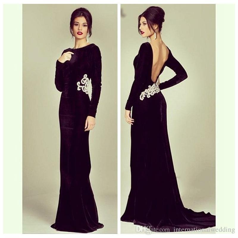 2017 Simple Black Long Sleeve Backless Mermaid Evening Dresses ...