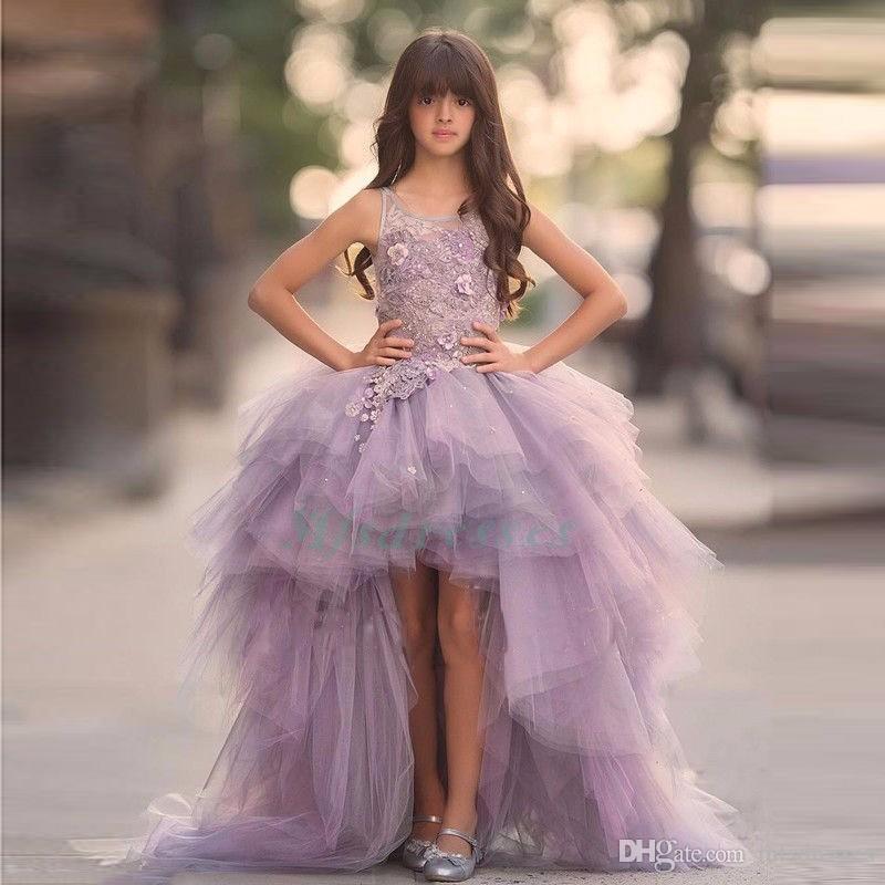 Luxury High Low Girls Pageant Dress Flower Girls Dress Teens Appliques Flower Purple Ball Gown Junior Party Dress Bambini Prom Abito da sera