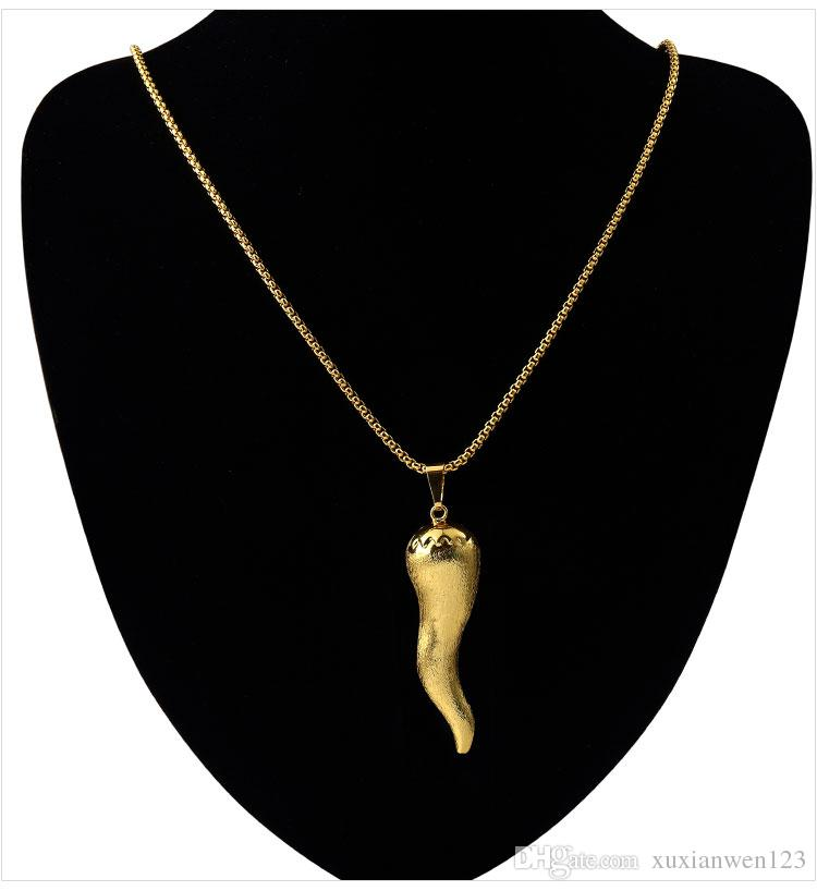 Gold Plated Pepper Pendants Shape chilli Necklace Hip Hop Gold Necklace Chain Designs Hot Sale Necklace Jewelry For Men Women Gift