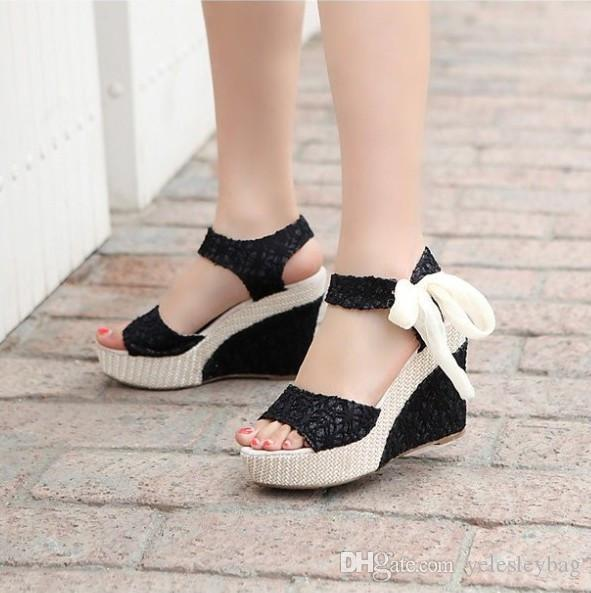 Zapatos de mujer Sandalias femeninas Cuñas de verano Sandalias de mujer Plataforma Cinturón de encaje Arco Chanclas Punta abierta Tacón alto