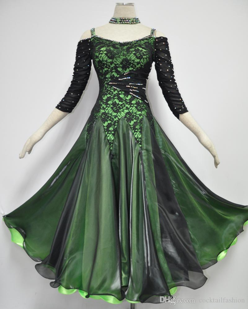 2018 Ballroom Waltz Dress Elegant Dark Green Lady Tango Flamenco ...