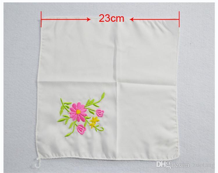 Unik vit broderad silke näsduk vuxna kvinnor liten fyrkantig handduk kinesisk etnisk hantverk gåva 10st / gratis frakt