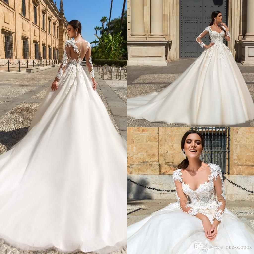 a9e9cb9821 2017 Modest Long Sleeves Ball Gowns Wedding Dresses Lace Appliques Sheer  Neckline Custom Made Bridal Gown Linen Wedding Dress Plus Wedding Dresses  From One ...