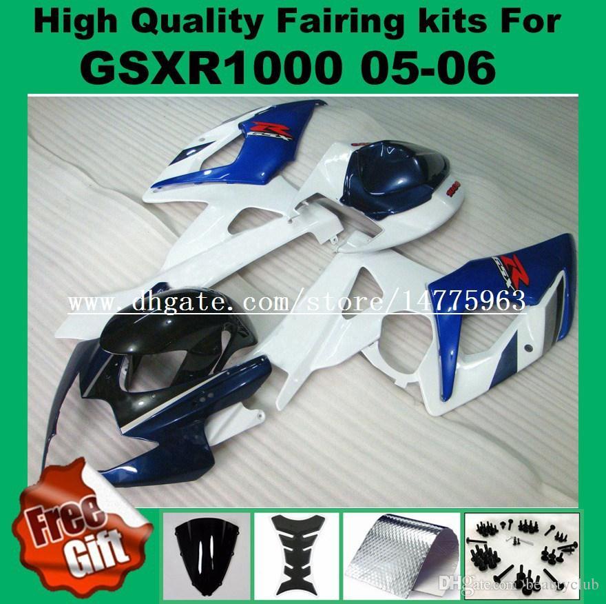 100%подходят обтекатели для SUZUKI 2005 2006 GSXR1000 GSX-R1000 05 06 обтекатели комплект GSXR 1000 2005 2006 Pre_drilled красный черный #72216 обтекатель комплект