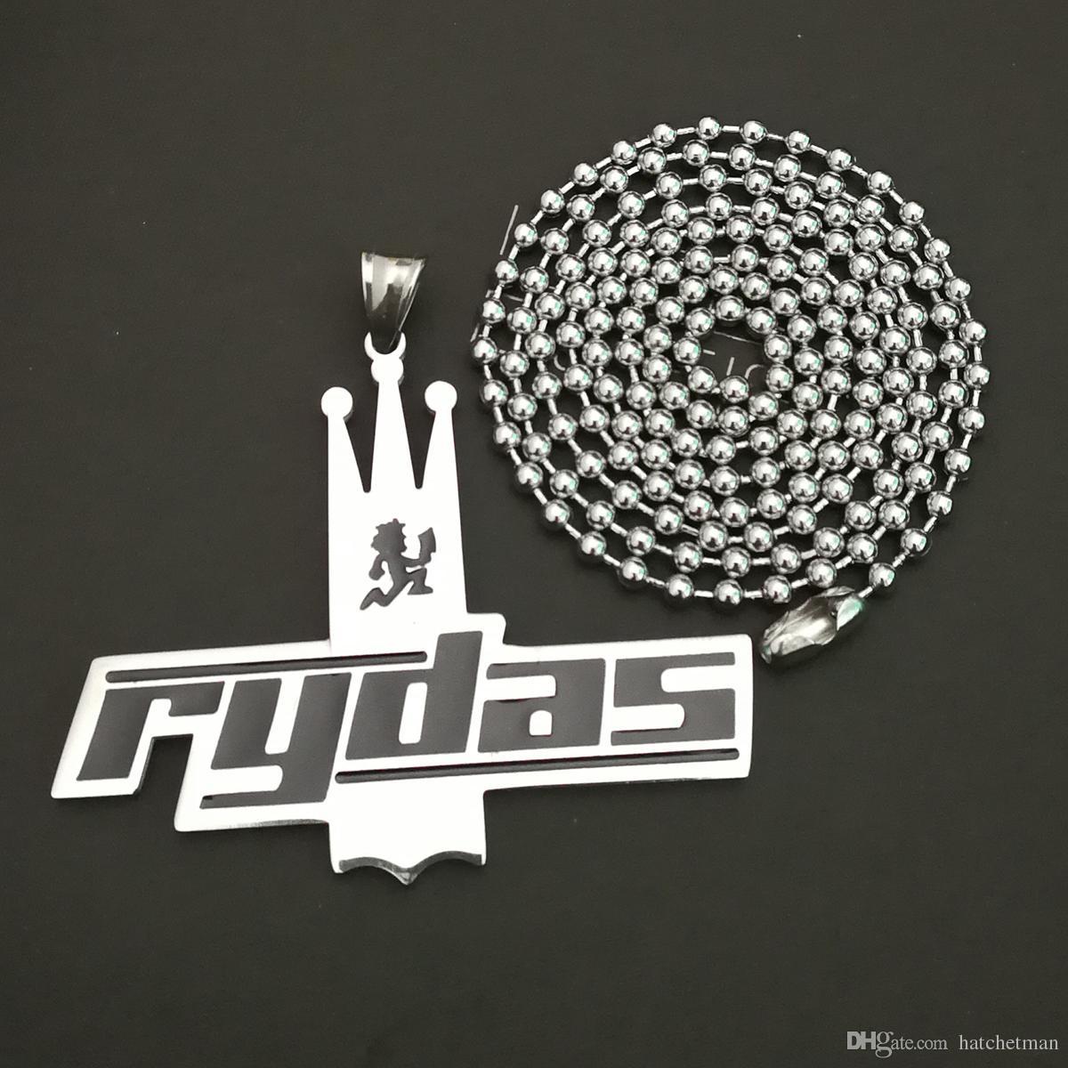 Cool Psychopathic Rydas nero Crown Charm Pendant ICP Twiztid / 30 '' Ball neckalce High polish Può essere personalizzato charm