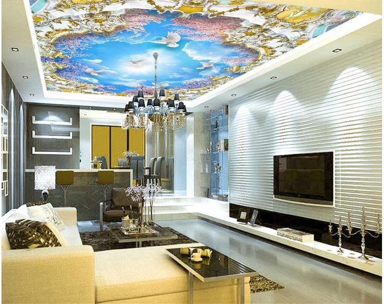 Top Klassische 3D-europäische Art Blauer Himmel weißen Wolken Kirschbaum 3D Zenit Tapeten Himmel Decke Tapete