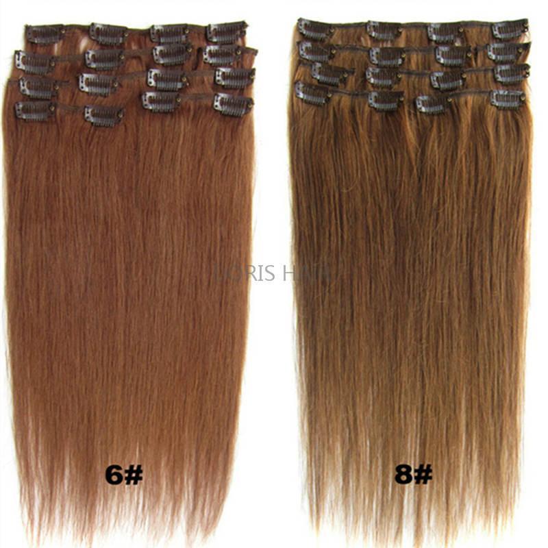 Sarışın Siyah Kahverengi İpeksi Düz Klip İnsan Saç Uzantıları 70g 100g 120g Brezilyalı Hint Remy Saç Tam Kafa