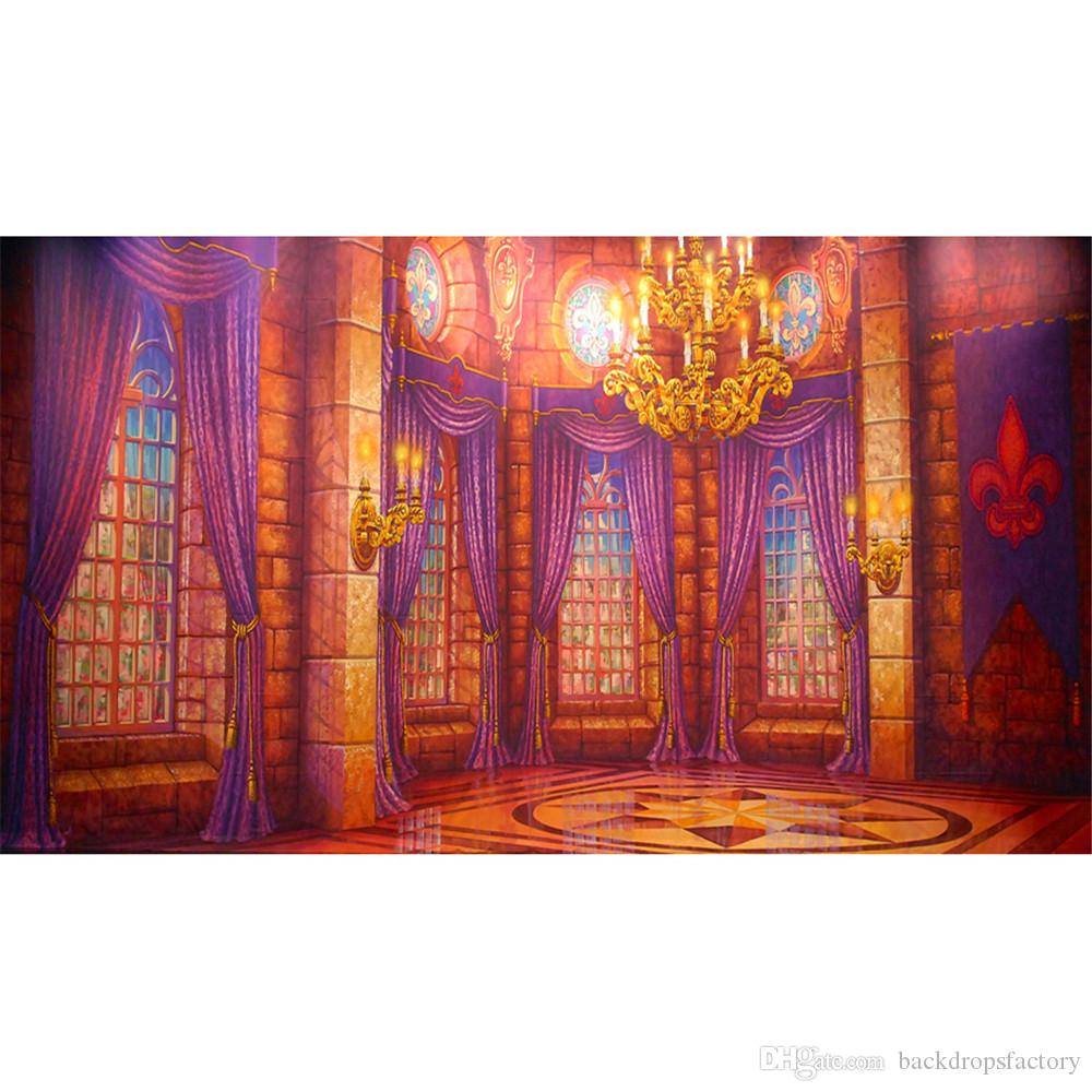 2017 digital printed interior castle beauty and beast backdrop