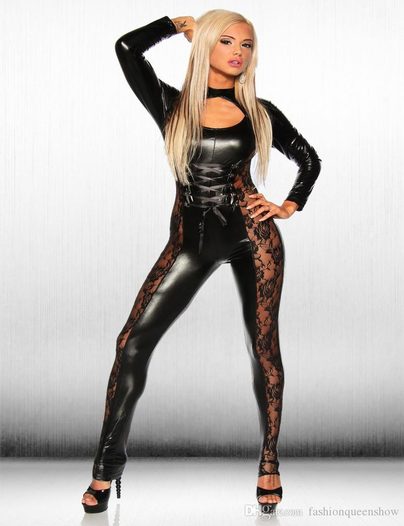 3dc012a1fec 2019 Sexy Women S Faux Leather Bodysuit Patchwork Lace Legs Jumpsuit Cosplay  Uniform Catwoman Catsuit Party Dancing Clothing From Fashionqueenshow