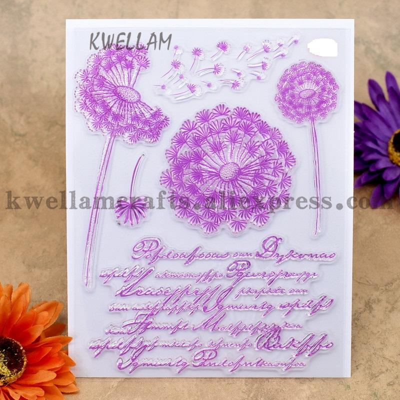 Dandelion Pattern DIY Large Transparent Rubber Stamp Seal DIY Craft Scrapbooking