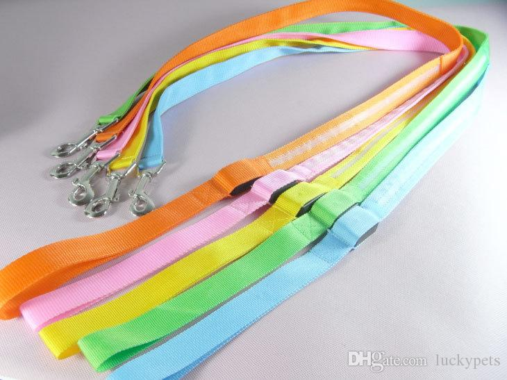 Pet Dog Puppy Cat Kitten Soft Glossy Reflective Led Leash Safety Leashes Buckle Pet Supplies Products Colorful 160927