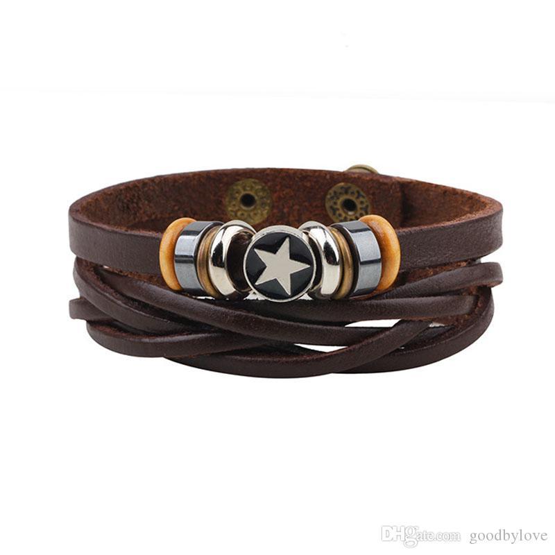 Unisex Mens Jóias Punk real genuíno couro marrom multi Camadas ajustáveis pulseira de Pentacle Braceletes Pulseiras para festa