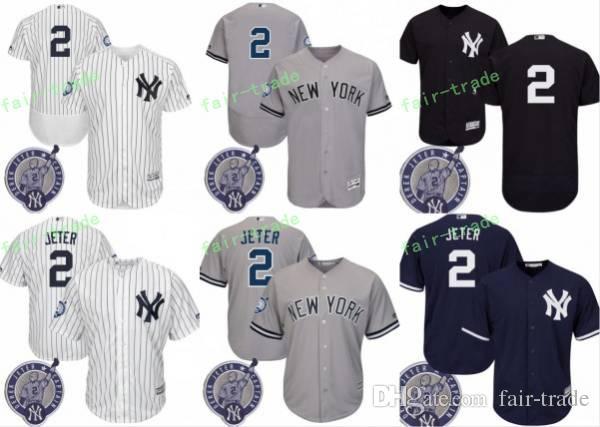 best authentic 77130 1e7bf new york yankees 2 derek jeter gray retirement patch jersey