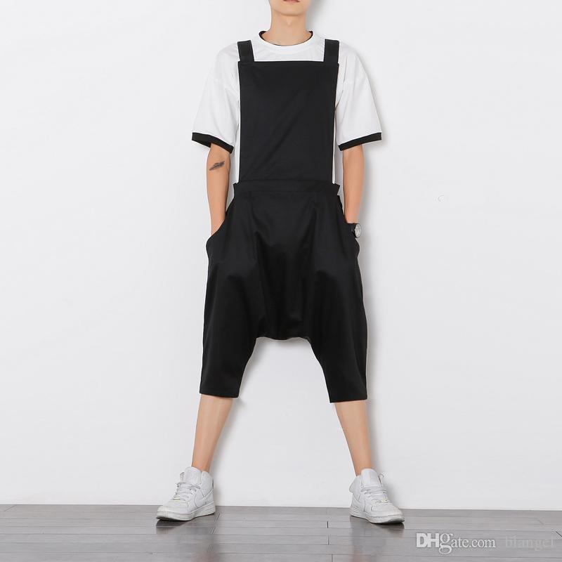8934a8beee5 2019 Mens Jumpsuit Romper Summer Onesie Work Overalls Black Punk Bib Capris  Pants Fashion Korean Style Loose Casual Cropped Trousers From Blangel