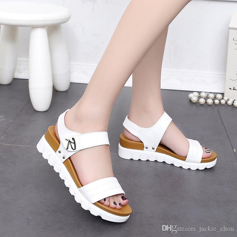 d5b5d8800 Women Platform Sandals Fashion Open Toe White Wedge Summer Sandals  Comfortable Beach Shoes 666 Size 35 40 Pumps Shoes Shoe Sale From  Jackie chou