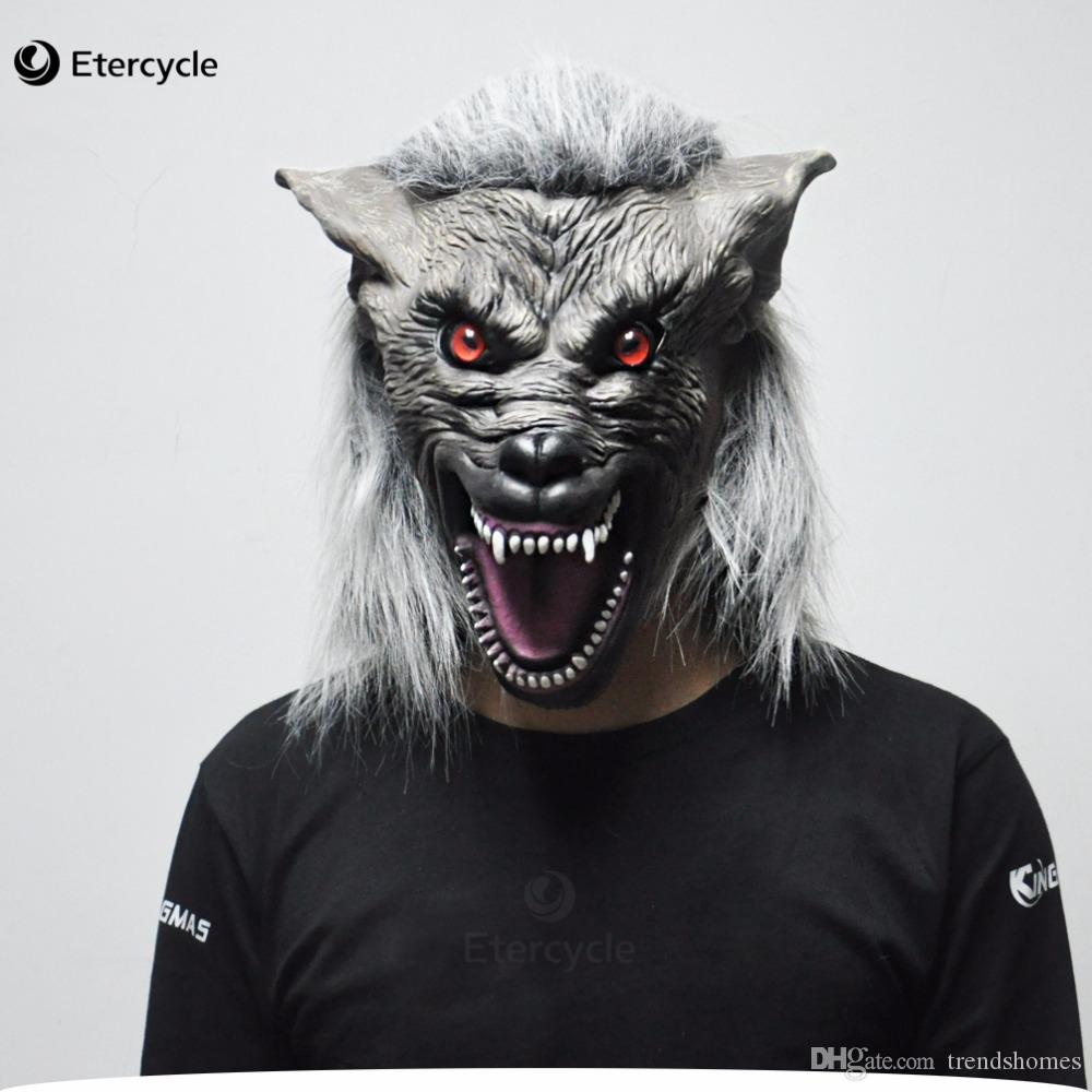 scary gray wolf head masks realistic halloween adult latex mask animal werewolf cosplay props party fancy dress jester masks jeweled masquerade masks from
