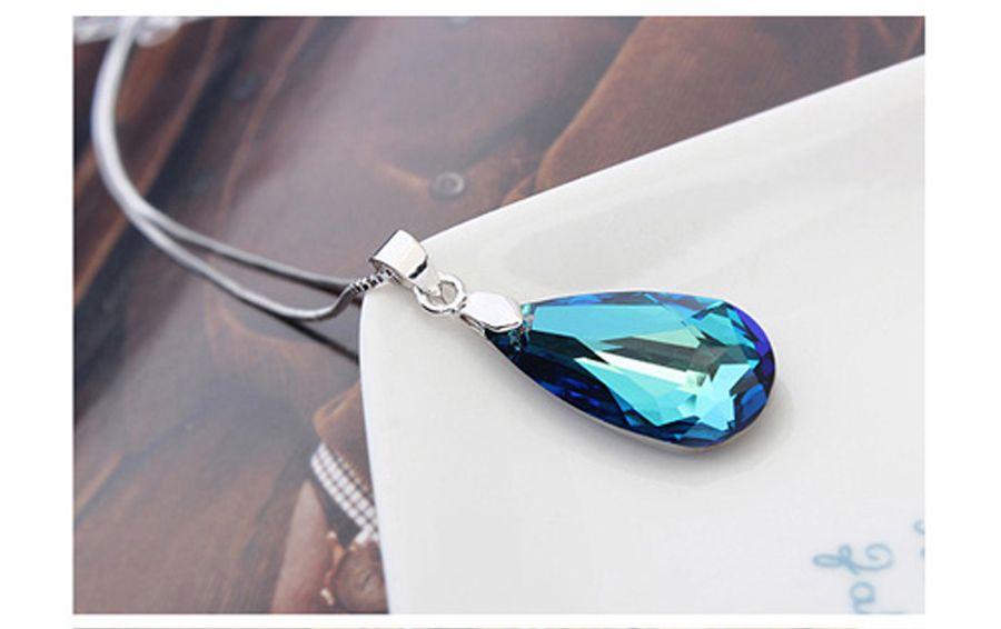 Melhor presente da jóia para as mulheres 4 cores de cristal colar de pingente de gota Feito com cristais austríacos de Swarovski para presente das mulheres