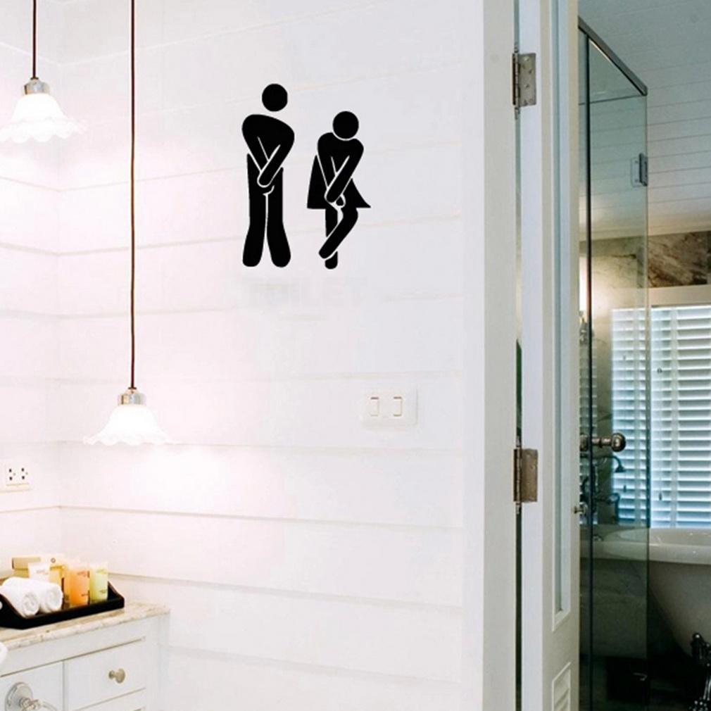 Drôle D'entrée De Toilette Signe Sticker Vinyle Autocollant Pour La Boutique Bureau Maison Café Hôtel Toilette Salle De Bains Porte Murale Décoration