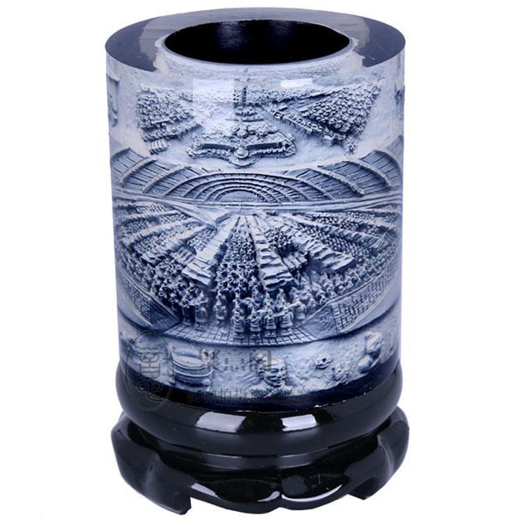 Kristal kabartma döner kalem, Terracotta Ordusu, Xi'an özel el sanatları, ofis kırtasiye, high-end iş hediyeler