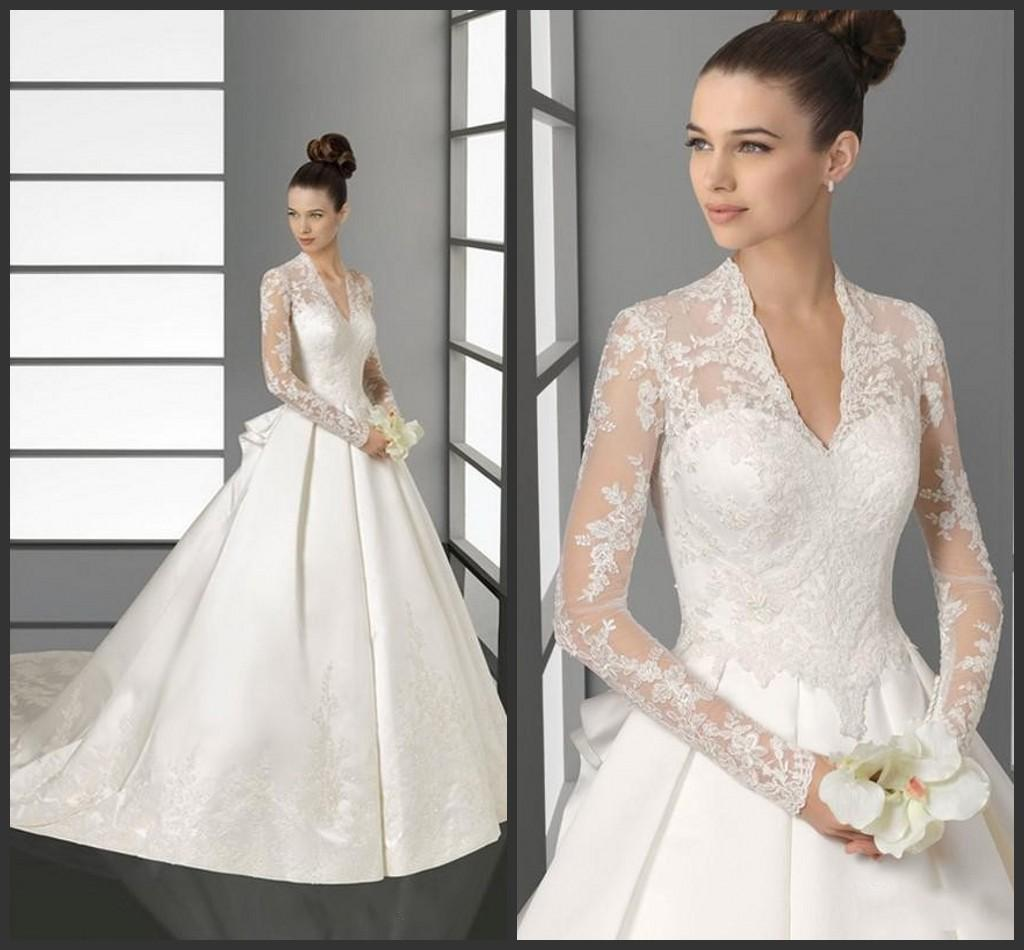 Discount Chaple Train Modest Wedding Dresses Bridal Gown Cheap Price V Neck Long Sleeve Appliques Elegant A Line High Quality Formal Iullsion Dress