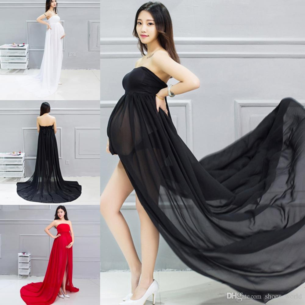 38569eaa08909 2019 Elegant Maternity Photography Props Strapless Pregnancy Clothes Off Shoulders  Maternity Dresses Pregnant Women Photo Shoot Split Clothing From ...