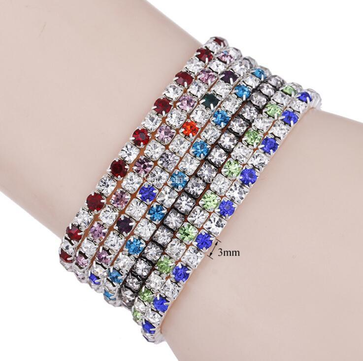 Silver Plated 7 colors Single Line Crystal Fiiled stretch bracelet Shining zircon elastic Roll Bracelet for women girl