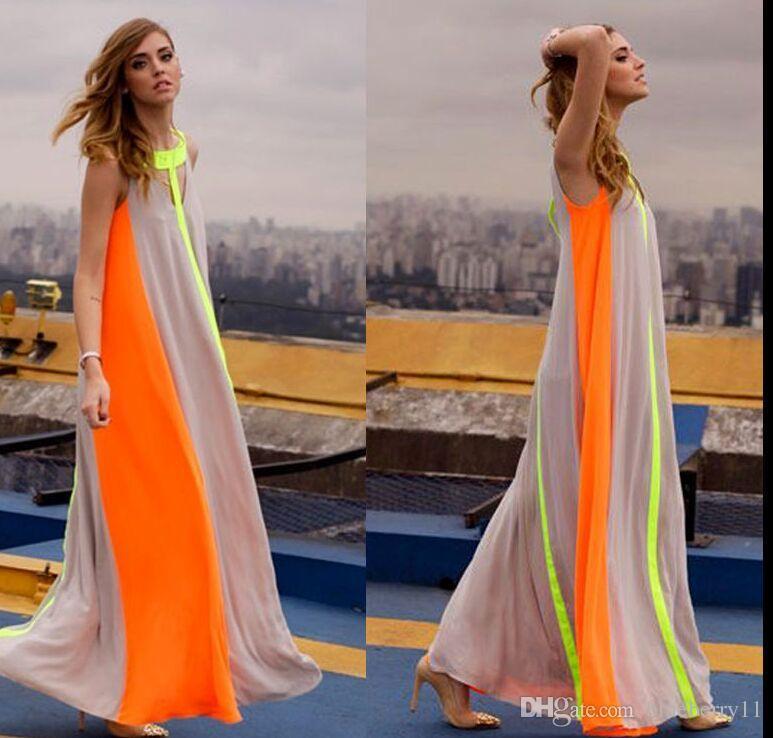 된 Fahion 쉬폰 밝은 컬러 패치 워크 캐주얼 드레스 민소매 sundress에 느슨한 롱 드레스 저렴한 여성 여름 보헤미안 맥시 드레스