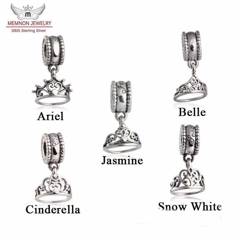 42b0d268e Memnon Jewery Fit Brand Bracelets Ariel/Belle/Cinderella/Snow  White/Jasmine's Tiara Dangle Charm Beads Authentic 925 Sterling Silver  Jewelry