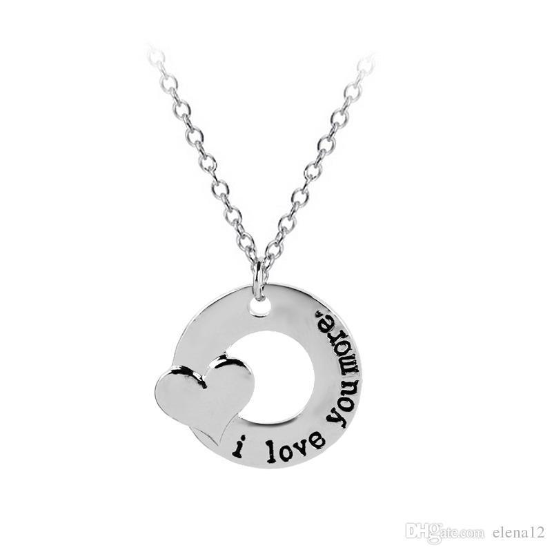 6f13e8b1a396 Compre Te Amo Más Collar Del Corazón Collares Del Colgante Del Círculo  Joyería Del Amante Para El Regalo De La Tarjeta Del Día De San Valentín De  Los ...