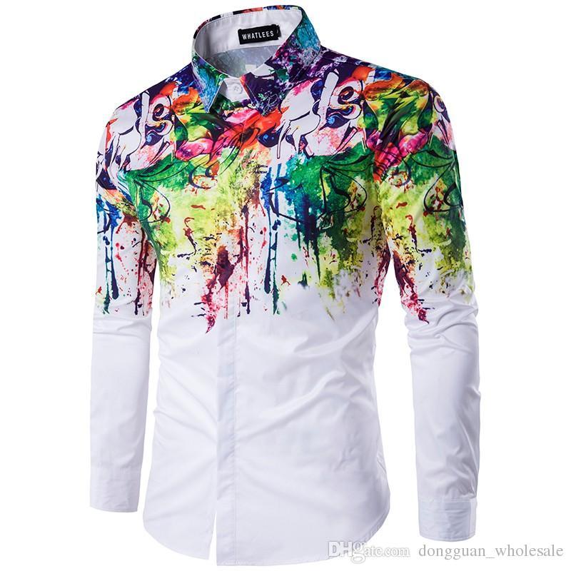 2017 Yeni Varış Adam Moda Gömlek Desen Tasarım Uzun Kollu Boya Renk Baskı Slim Fit adam Casual Gömlek Erkekler Elbise Gömlek
