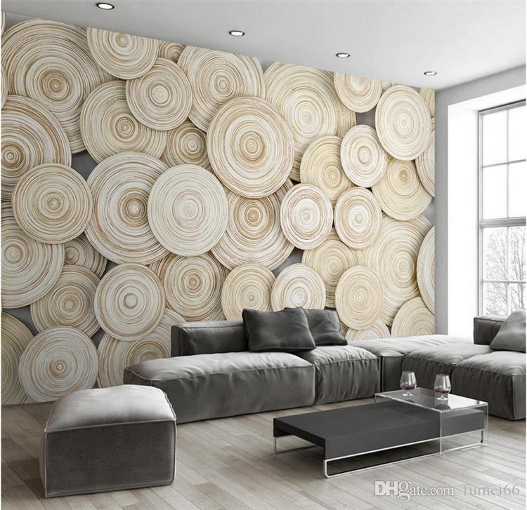 Wallpaper Design Room: Large Custom Mural Wallpaper Modern Design 3D Wood Texture