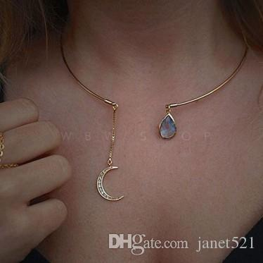 68c70bea512221 2019 Dainty Crescent Moon Chokers Necklaces Manmade Blue White Gemstone  Embellishment Gold Plated Fashion Jewelry Gifts Womens Necklaces From  Janet521, ...