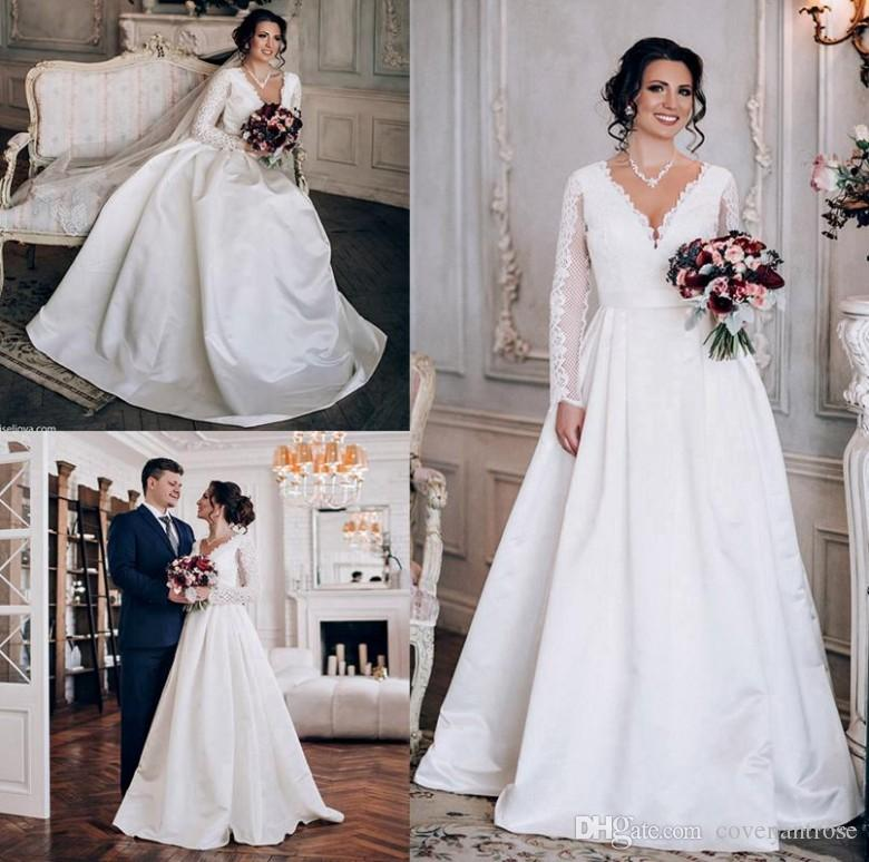b18403c1d4005 Discount 2018 New Lace Wedding Dresses Long Sleeves Deep V Neck Satin Royal  Bridal Dresses Ruffled Plus Size Wedding Gowns Pakistani Bridal Dresses ...