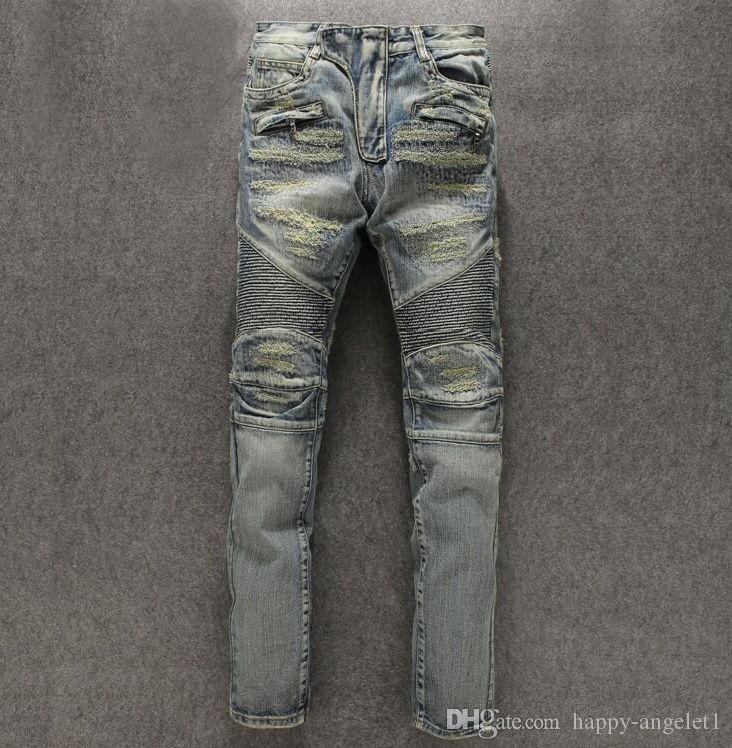 Hiver Nouveau Designer Hommes Maigre Biker Jeans Mode Déchiré Drapé Slim Fit Longue Épaisse Bleu Moto Denim Punk Jeans Pantalons Casual Hommes
