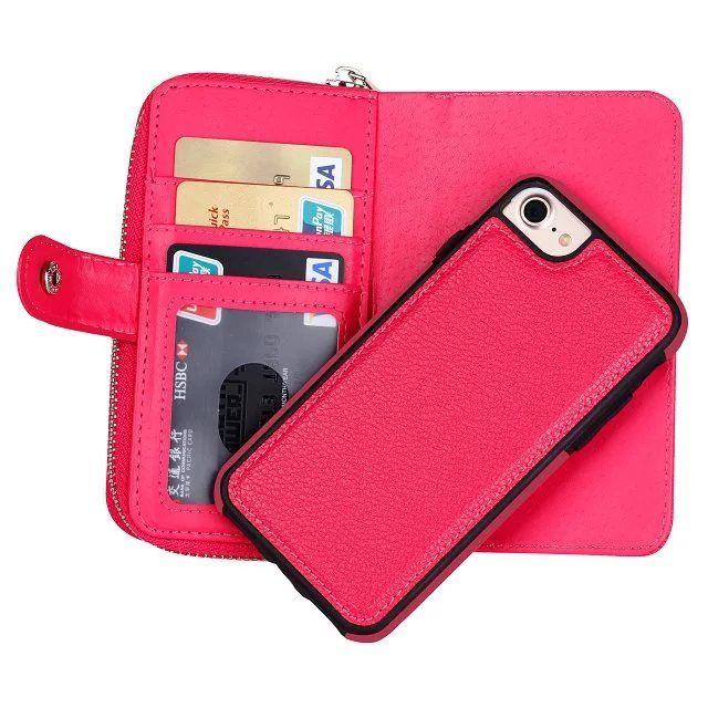 Para iphone x 4 4s 5 5s se 5c 6 6 s 7 6 mais 7 8 mais 2 em 1 ímã Destacável Carteira De Couro Com Zíper Dinheiro Bolso Photo Frame case 10 pçs / lote