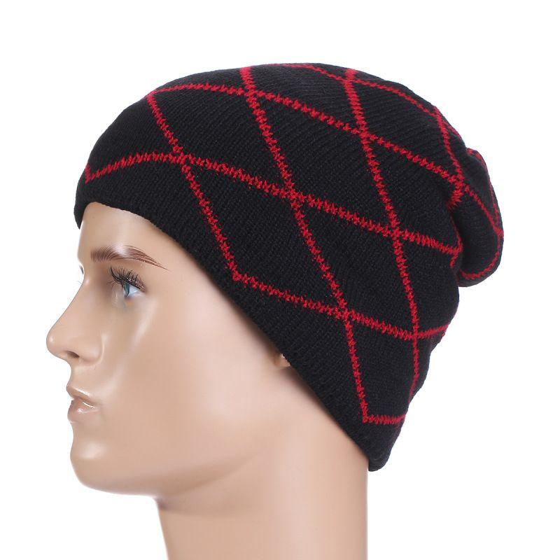 Winter Warm New Striped knit hip-hop hat Skull Chunky Women Knit Beanie Reversible Baggy Cap Warm Unisex Hat b276