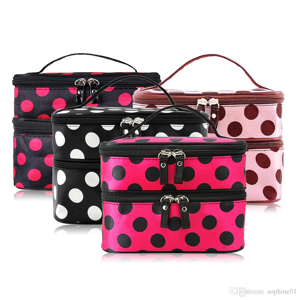 Portable Double-Deck Zipped Enclosure Water resistant Nylon Cosmetic Retro Dot Multi Functional Beauty Makeup Hand Case Bag