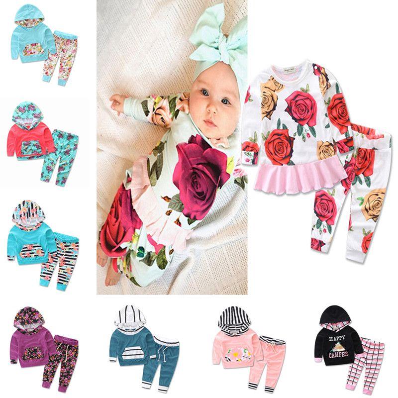 27ec34efa Striped Print Two-piece Infant Clothing Set Kids Winter Clothing ...