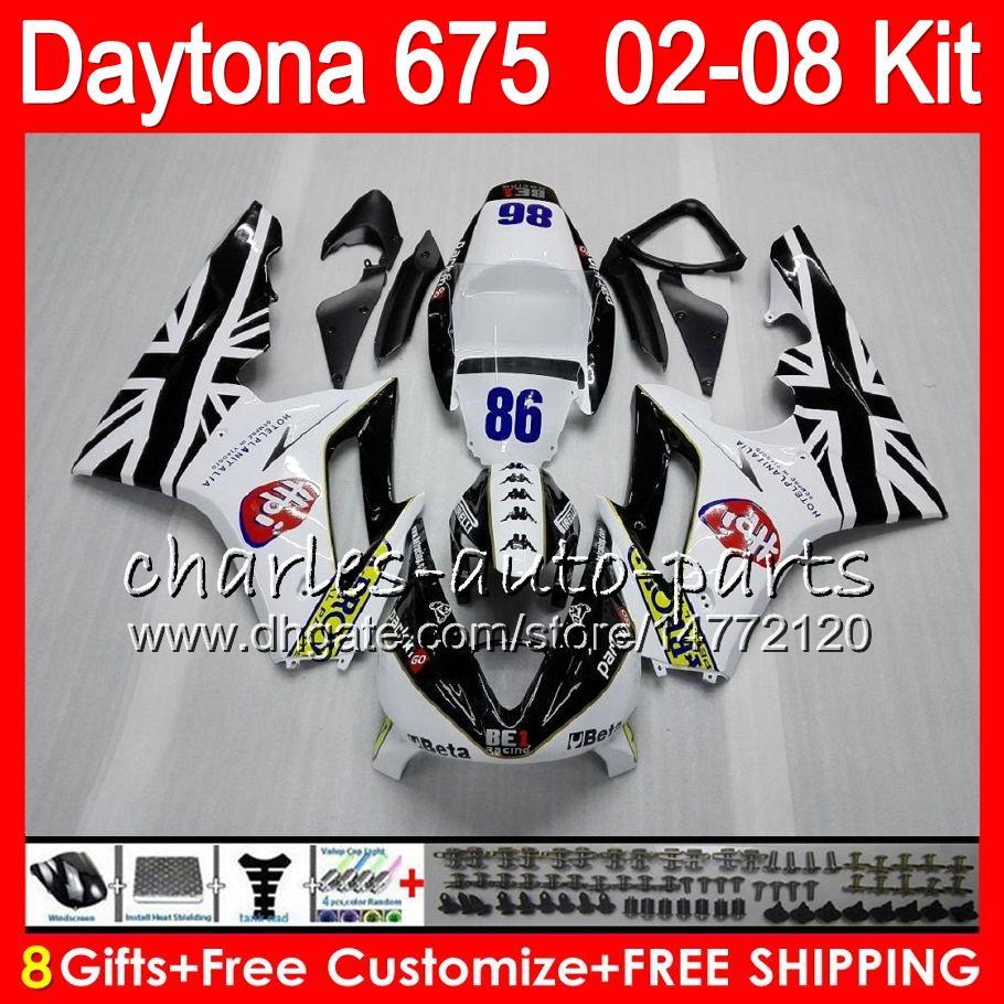 8 Geschenke 23 Farben für Triumph Daytona 675 02 03 04 05 06 07 08 Daytona675 weiß 4HM21 Daytona 675 2002 2003 2004 2005 2006 2007 2008 Verkleidung