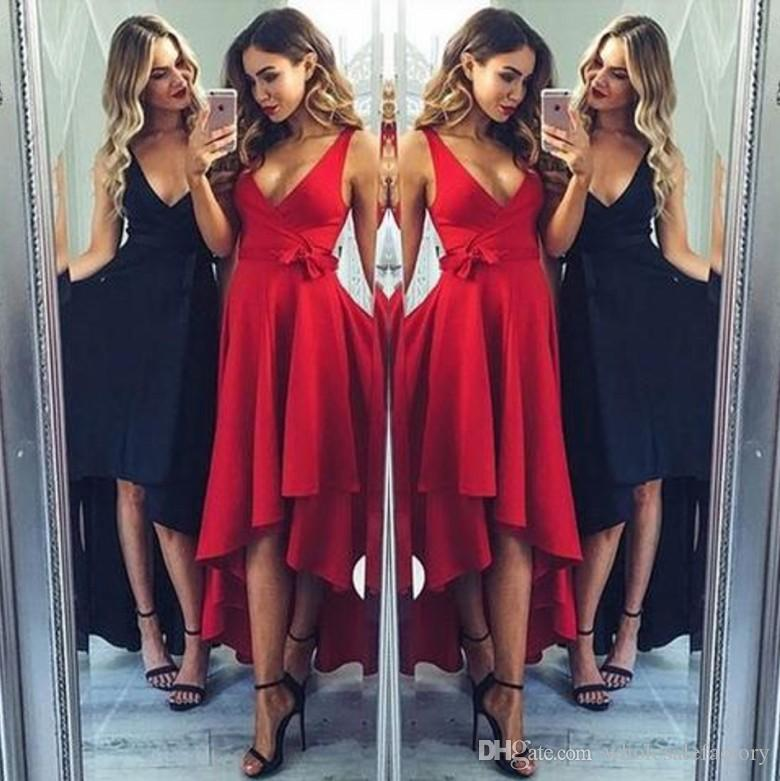 88fd2407de82 Cheapest Simple Design Prom Evening Dresses 2017 A Line V Neck High Low  Pleats With Sash Party Occasion Homecoming Gowns Long Dresses Cheap Dresses  From ...