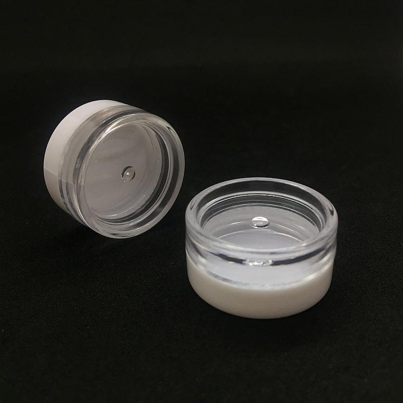 3G Round Shape Empty Plastic Jar White Cap 3ML Cosmetic Plastic Vial Pots Container Clear Jars For Face Cream Nail Art Essential Oil