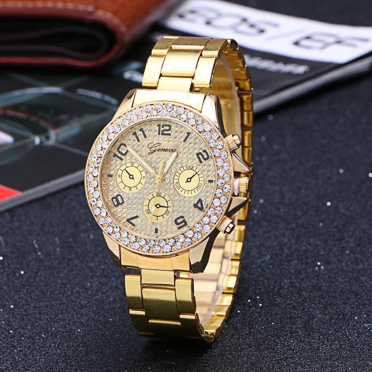 d3e73043ca9 Compre Nova Marca Geneve Mulheres Relógios De Luxo Senhoras Strass Banhado  A Ouro Mulheres Relógio De Diamante Liga Banda De Quartzo Relógios De Pulso  De ...