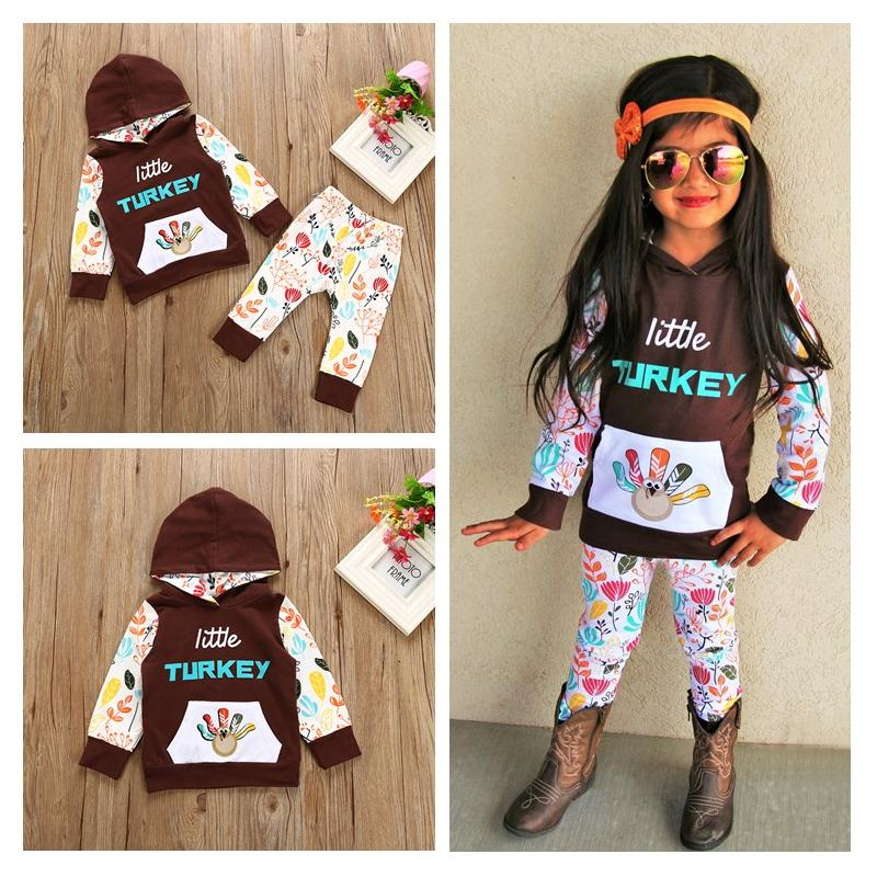 2018 Kids Clothing 2017 Thanksgiving Day Girls Hooded Printed Little