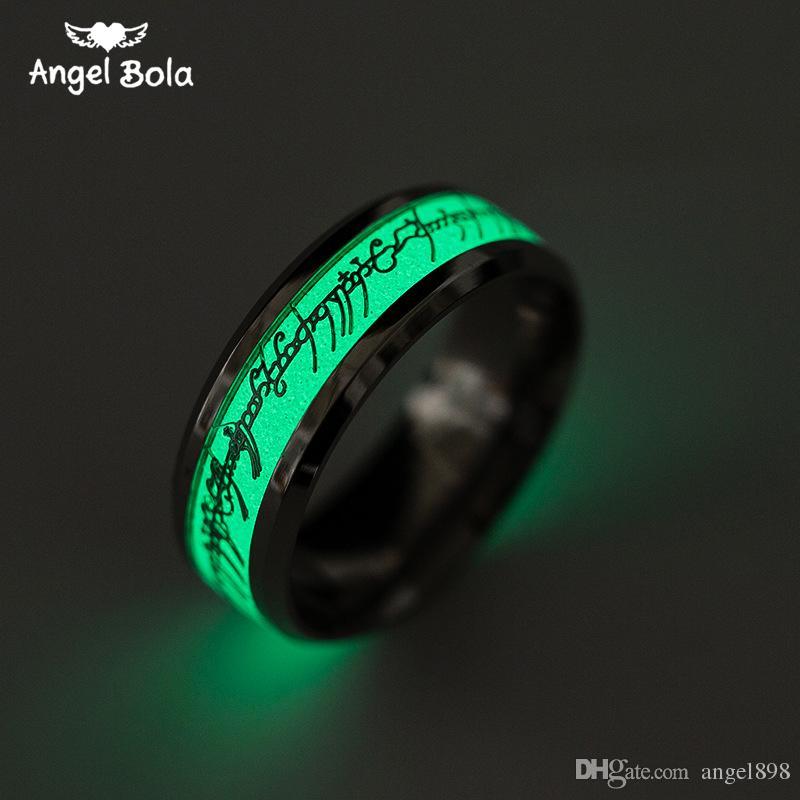Lord of the Ring Glühen im dunklen Gold Inlay Green Background Mode Silber Männer Frau Ringe Fluoreszenzglühen