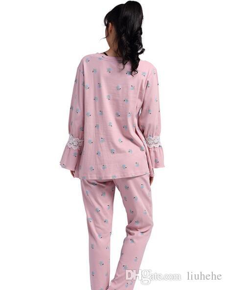 2017 otoño e invierno nuevas damas traje de pijama de algodón pantalones casuales de manga larga servicio a domicilio