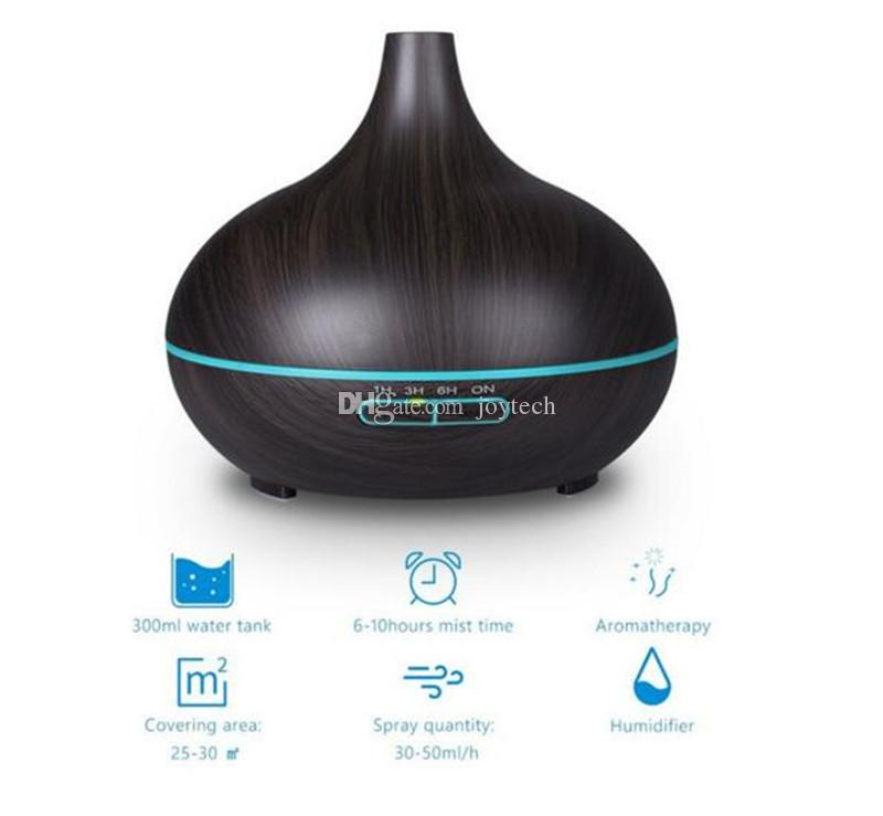 300ML Air Aroma Essential Oil Diffuser LED Ultrasonic Aroma Aromatherapy humidifier Mist Purifier maker wood grain shap DHL shipping